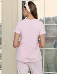 Şahinler Breastfeeding Maternity Sleepwear Set PinkMBP23417-1 - Thumbnail