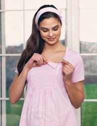 Şahinler - Şahinler Breastfeeding Maternity Sleepwear Set PinkMBP23417-1 (1)