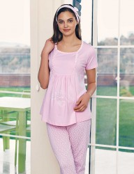 Şahinler Breastfeeding Maternity Sleepwear Set PinkMBP23417-1 - Thumbnail