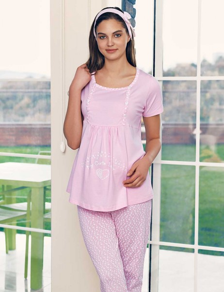 Şahinler Breastfeeding Maternity Sleepwear Set PinkMBP23417-1