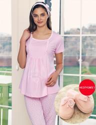 Şahinler - Şahinler Breastfeeding Maternity Sleepwear Set PinkMBP23417-1