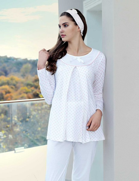 Şahinler Breastfeeding Maternity Sleepwear Set Powder MBP23414-1