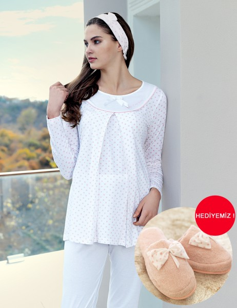 Şahinler - Şahinler Breastfeeding Maternity Sleepwear Set Powder MBP23414-1