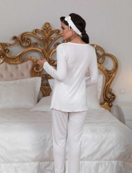 Sahinler Breastfeeding Maternity Sleepwear Set with Slipper Gift Ecru MBP23123-1 - Thumbnail