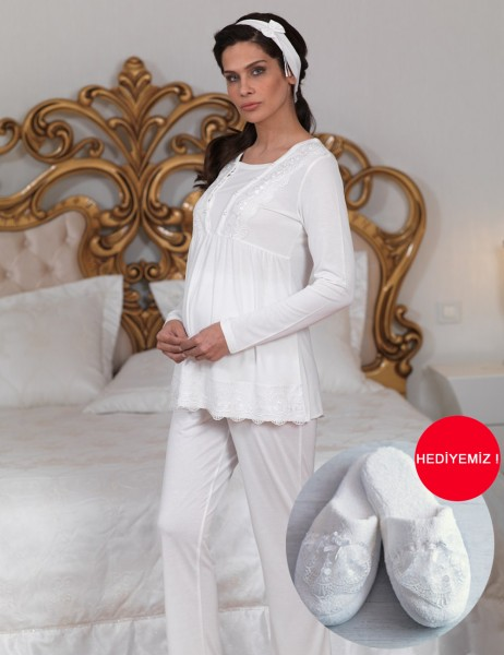 Sahinler Breastfeeding Maternity Sleepwear Set with Slipper Gift Ecru MBP23123-1