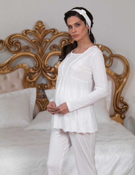 Şahinler - Sahinler Breastfeeding Maternity Sleepwear Set with Slipper Gift Ecru MBP23123-1 (1)