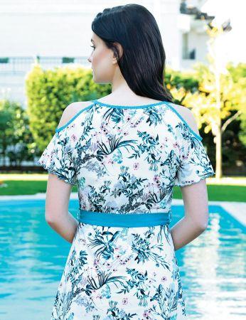 Şahinler - Şahinler Çiçek Desenli Kadın Elbise MBP24006-1 (1)