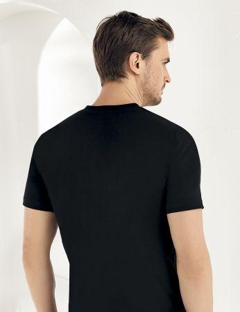 Sahinler Cotton Singlet V Neck Short Sleeve Black ME011