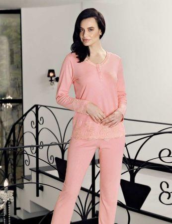 Şahinler - Şahinler Dantelli Kadın Pijama Takımı Pembe MBP23718-1