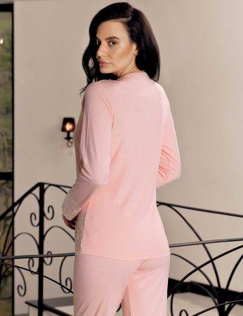 Şahinler - Şahinler Dantelli Kadın Pijama Takımı Pembe MBP23718-1 (1)