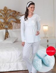 Şahinler - Şahinler Dantelli Lohusa Pijama Takımı Mavi (Terlik) MBP23122-2