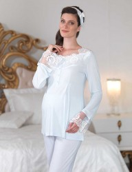 Şahinler - Şahinler Dantelli Lohusa Pijama Takımı Mavi (Terlik) MBP23124-2 (1)