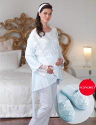 Şahinler - Şahinler Dantelli Lohusa Pijama Takımı Mavi (Terlik) MBP23124-2