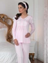 Şahinler - Şahinler Dantelli Lohusa Pijama Takımı Pembe (Terlik) MBP23122-1 (1)