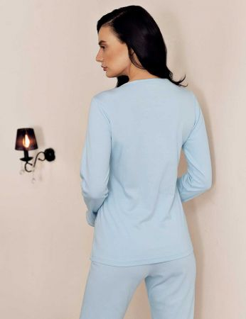 Şahinler - Şahinler Dantelli Pijama Takımı Mavi MBP23701-1 (1)
