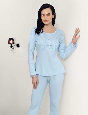 Şahinler - Şahinler Dantelli Pijama Takımı Mavi MBP23701-1