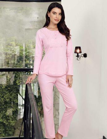 Şahinler - Şahinler Dantelli Pijama Takımı Pembe MBP23702-1