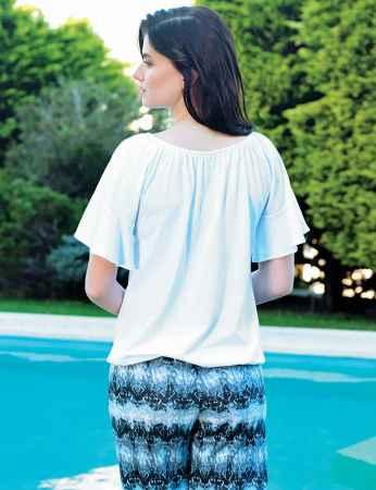 Şahinler Desenli Kadın Pijama Takımı Beyaz MBP24029-1 - Thumbnail