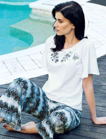 Şahinler - Şahinler Desenli Kadın Pijama Takımı Beyaz MBP24029-1