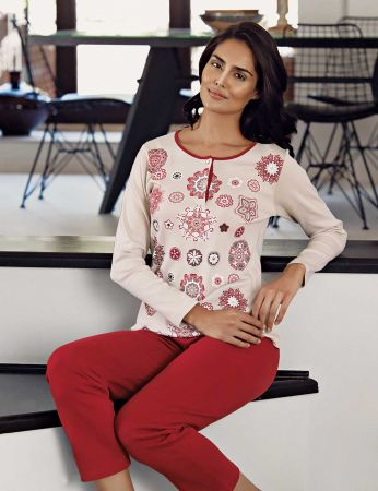 Şahinler - Şahinler Desenli Kadın Pijama Takımı Kırmızı MBP23103-1