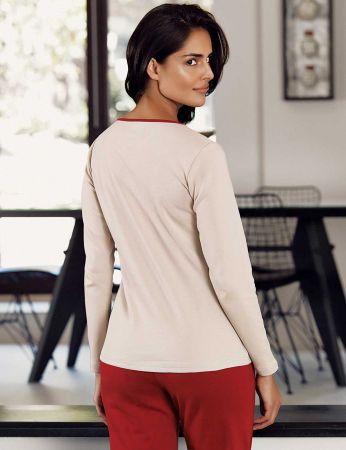 Şahinler - Şahinler Desenli Kadın Pijama Takımı Kırmızı MBP23103-1 (1)