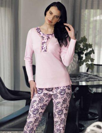 Şahinler - Şahinler Desenli Kadın Pijama Takımı Pembe MBP23708-1