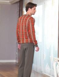 Şahinler Desenli Erkek Pijama Takımı Kırmızı Haki MEP23229-1 - Thumbnail