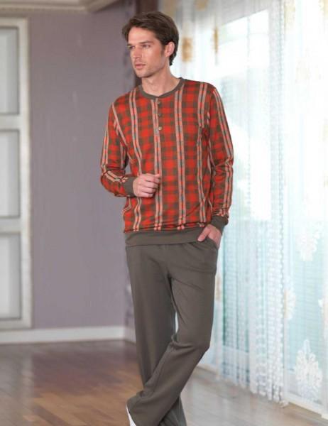 Şahinler Desenli Erkek Pijama Takımı Kırmızı Haki MEP23229-1