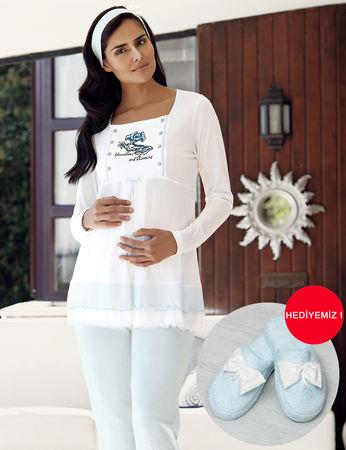 Şahinler - Şahinler Dreifach Schlafanzug Set für Schwangere MBP23727-2