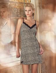 Şahinler Платье Леопардовое На Бретельках С Боковыми Шлицами MB144 - Thumbnail
