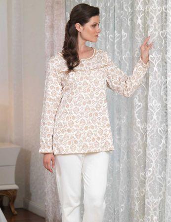 Şahinler - Şahinler Düğmeli Bayan Pijama Takımı Ekru MBP23104-1