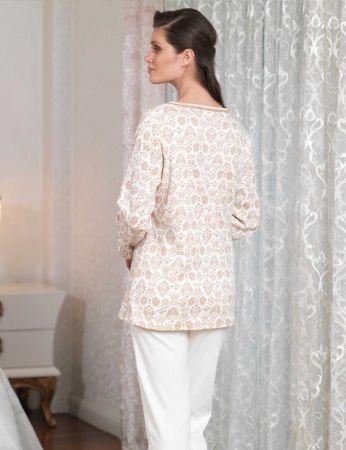 Şahinler - Şahinler Düğmeli Bayan Pijama Takımı Ekru MBP23104-1 (1)