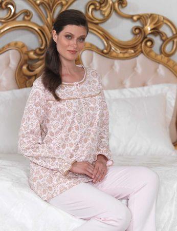 Şahinler - Şahinler Düğmeli Bayan Pijama Takımı Pembe MBP23104-2