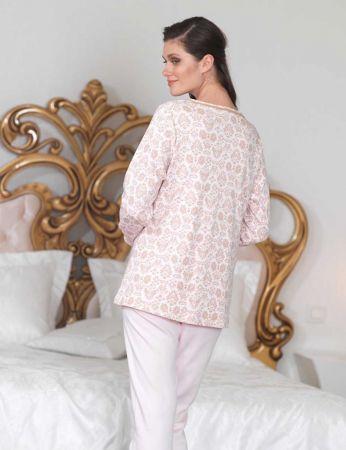 Şahinler - Şahinler Düğmeli Bayan Pijama Takımı Pembe MBP23104-2 (1)