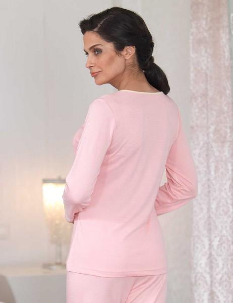 Şahinler - Şahinler Düğmeli Bayan Pijama Takımı Pudra MBP23110-1 (1)