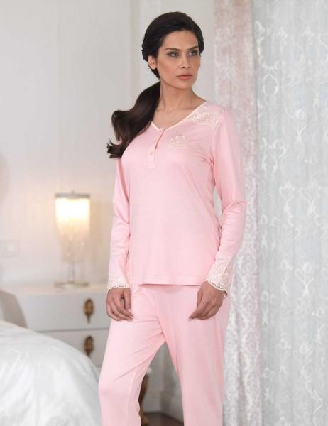 Şahinler - Şahinler Düğmeli Bayan Pijama Takımı Pudra MBP23110-1