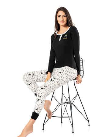 Şahinler Düğmeli Bayan Pijama Takımı Siyah MBP24310-1 - Thumbnail
