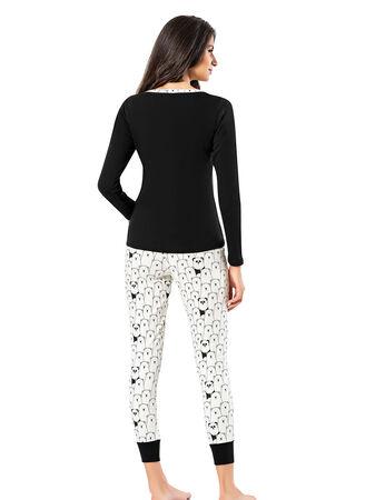 Şahinler - Şahinler Düğmeli Bayan Pijama Takımı Siyah MBP24310-1 (1)