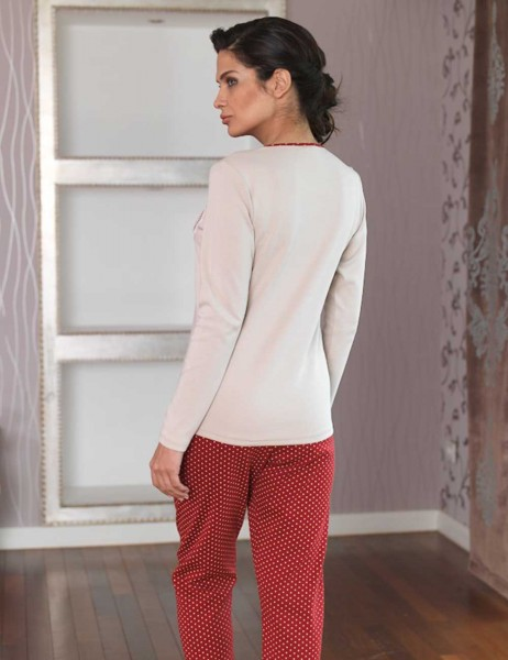 Şahinler - Şahinler Düğmeli Bayan Pijama Takımı Vizon MBP23102-1 (1)