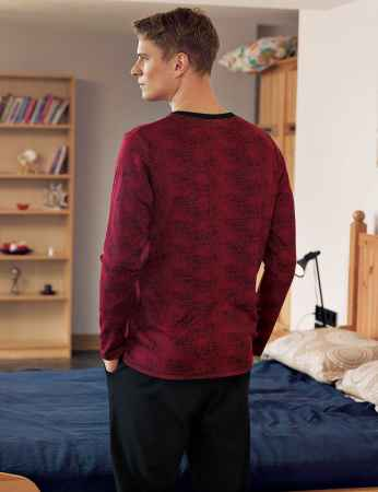 Şahinler Düğmeli Jakarlı Erkek Pijama Takımı Bordo MEP24512-1 - Thumbnail
