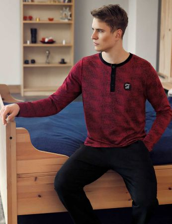 Şahinler - Şahinler Düğmeli Jakarlı Erkek Pijama Takımı Bordo MEP24512-1