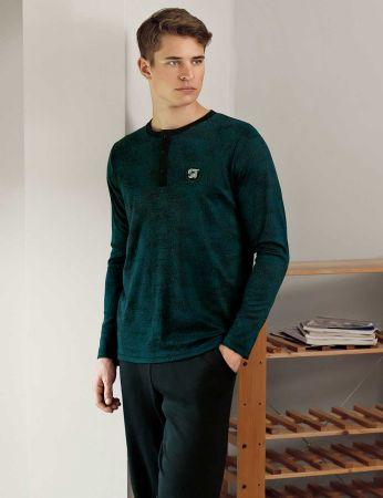 Şahinler - Şahinler Düğmeli Jakarlı Erkek Pijama Takımı Yeşil MEP24512-2