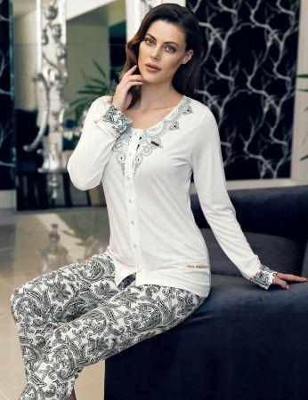 Şahinler - Şahinler Düğmeli Kadın Pijama Desenli MBP24107-1