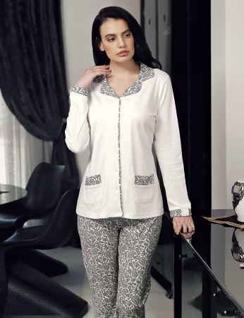 Şahinler - Şahinler Düğmeli Kadın Pijama Takımı Ekru MBP23710-1