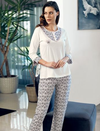 Şahinler - Şahinler Düğmeli Kadın Pijama Takımı MBP24114-1