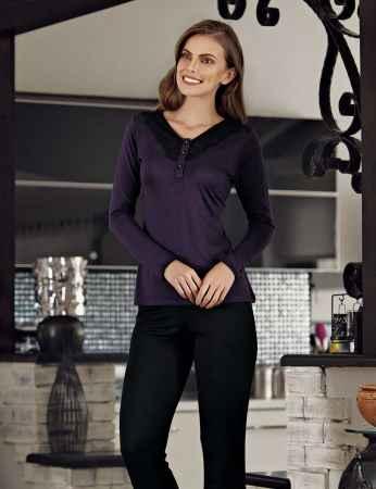 Şahinler Düğmeli Kadın Pijama Takımı Mor MBP23114-1 - Thumbnail