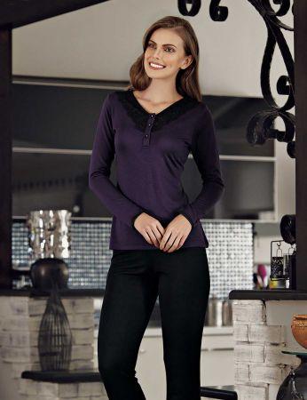 Şahinler Düğmeli Kadın Pijama Takımı Mor MBP23114-1