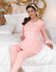 Şahinler - Şahinler Düğmeli Lohusa Pijama Takımı Somon (Terlik) MBP23112-1 (1)
