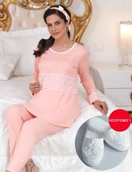 Şahinler - Şahinler Düğmeli Lohusa Pijama Takımı Somon (Terlik) MBP23112-1