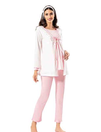 Şahinler Emzirme Fonksiyonlu 3'lü Lohusa Pijama Takımı Pembe MBP24408-1 - Thumbnail